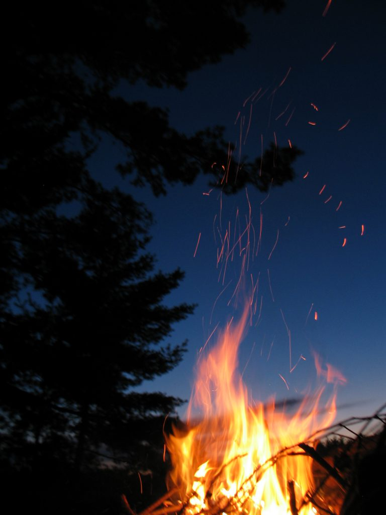 the beauty of a campfire at night
