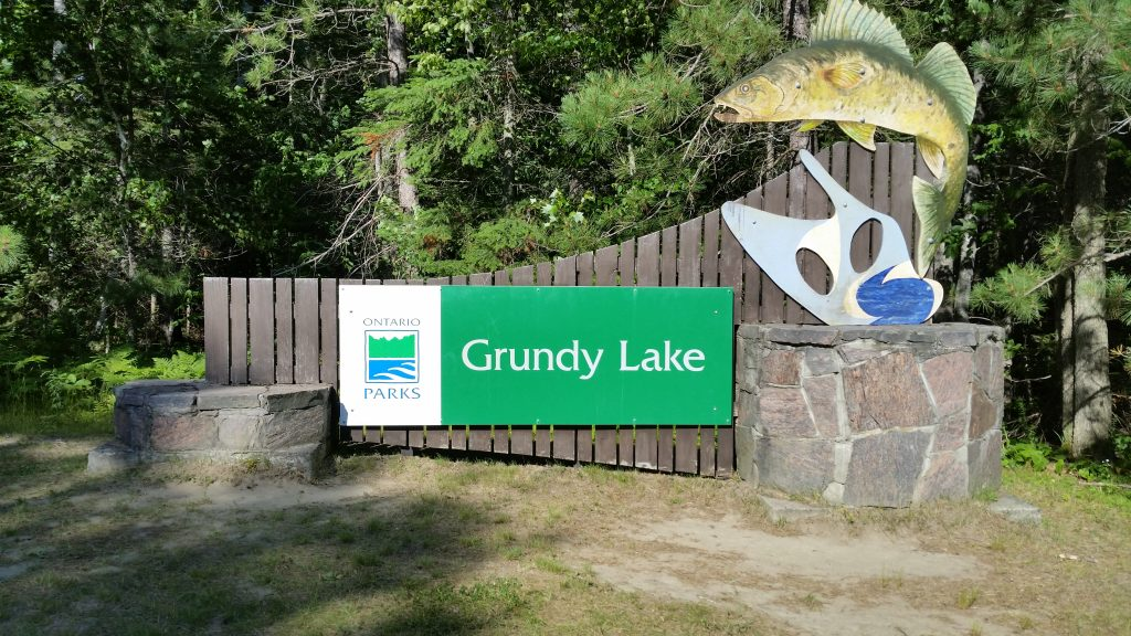 picture of the sign at the entrance to Grundy Lake Provincial Park campground for camping near Parry Sound, Ontario, Canada