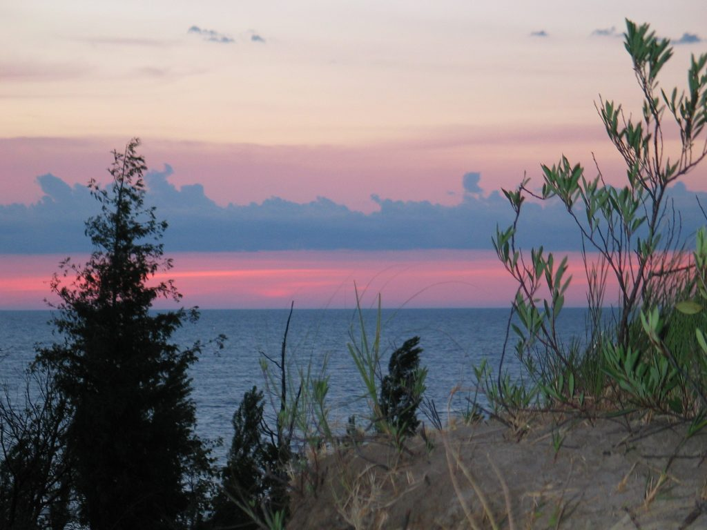 beautiful sunset from the sand dunes at Pinery Provincial Park near Grand Bend Ontario