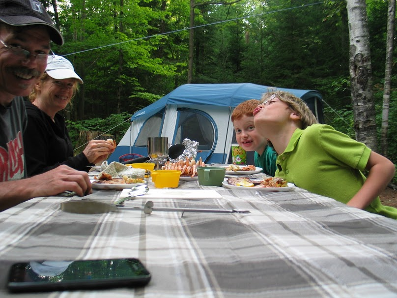 eating dinner in our campsite at Arrowhead Provincial Park