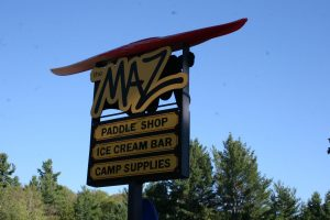 picture of the sign for The Maz, an ice cream bar and paddle shop near Bon Echo Provincial Park
