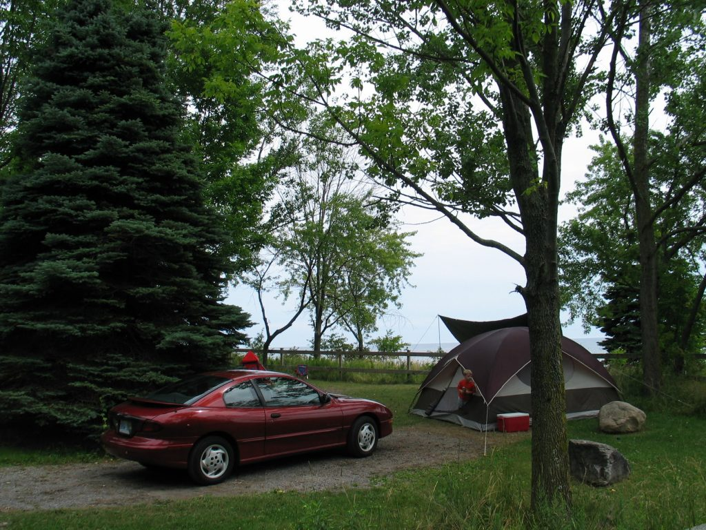 car camping at Darlington provincial park, one of the best provincial parks near Toronto