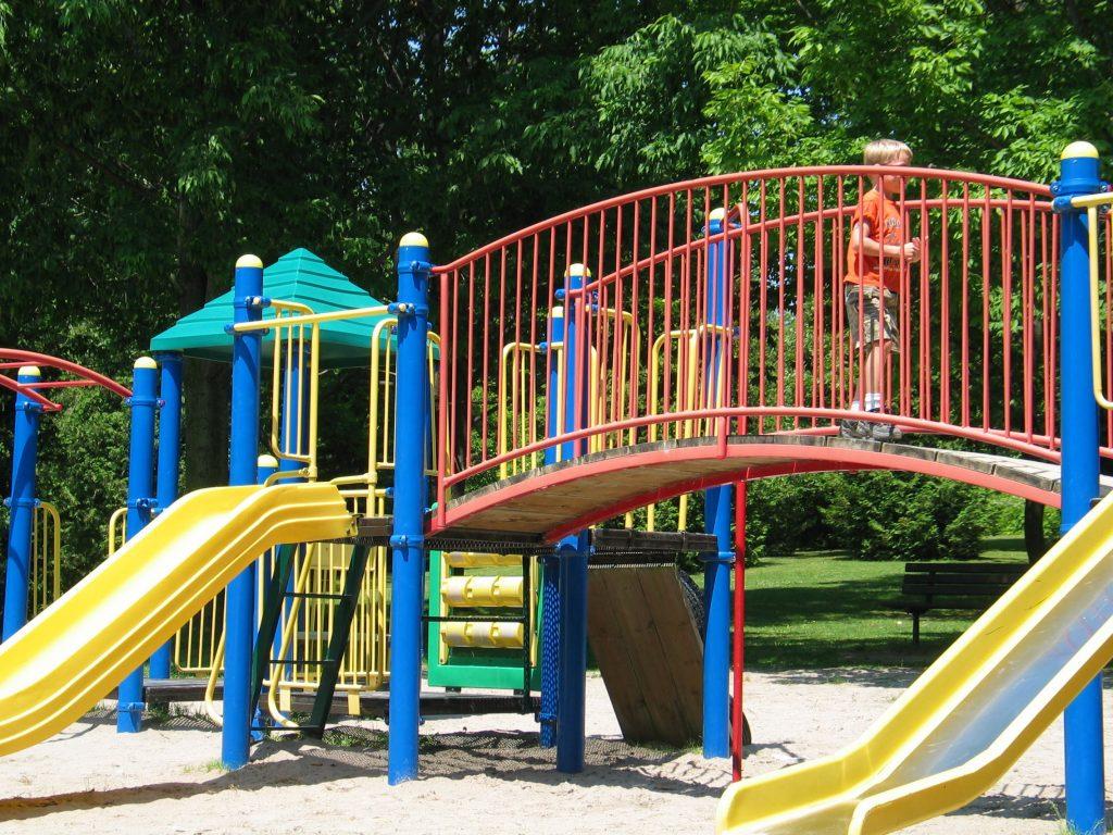 having fun at the playground at darlington provincial park