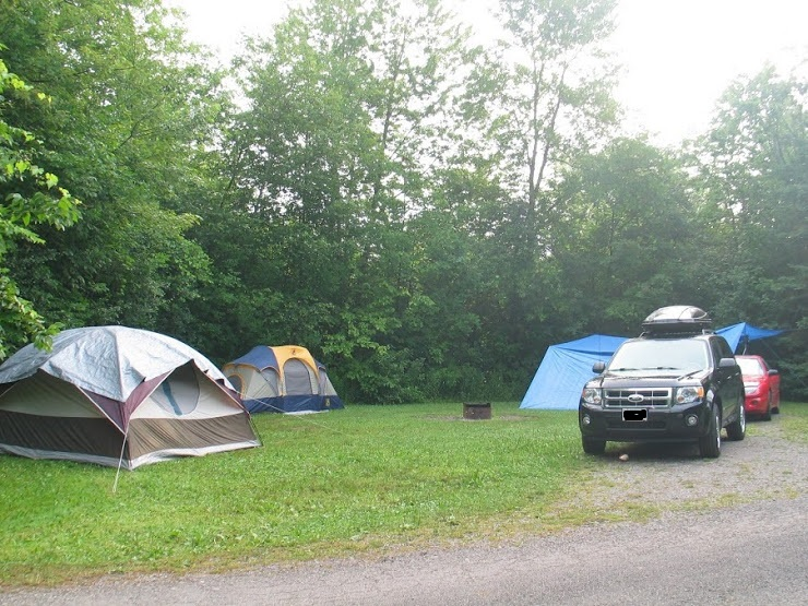 picture of tents and a tarp set up in the campsite at Emily Provincial Park